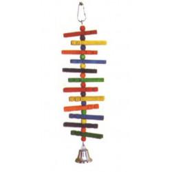 Drevená hračka so zvoncom pre papagáje 35x11cm